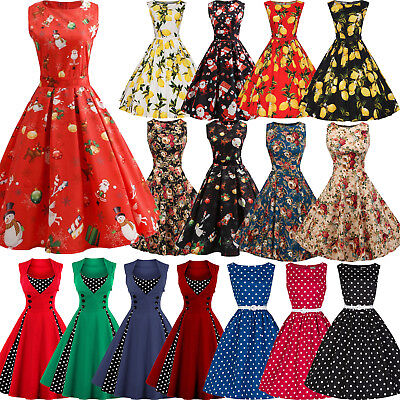 AU Womens 50's 60s Rockabilly Swing Skater Dress Pin Up Vintage Christmas XMAS