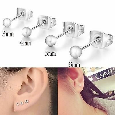 Womens Mens Round Plain Ball Earrings Small Studs Jewellery 925 Sterling Silver