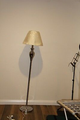 Two (2)  White floor lamps
