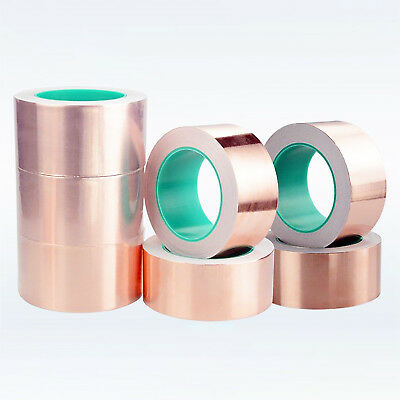 1-50M Copper Foil Shielding Tape 5-200mm Double Conductive Self Adhesive Barrier