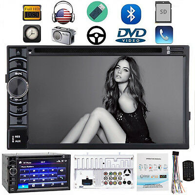 """Double 2 DIN 6.2"""" Car Stereo Radio CD DVD Player FM/AM/USB/SD In dash Bluetooth"""