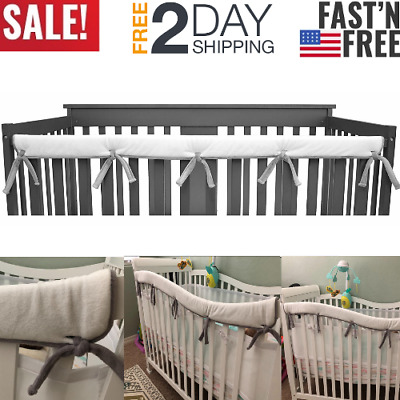 Crib Rail Cover Protector Safe Baby Microfiber Polyester Teething Guard Wrap