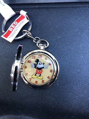Disney  parks  Mickey Mouse pocket watch Locket keychain silvertone metal