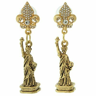 Ritzy Couture Statue of Liberty New York USA Post Earrings (Antique Goldtone)