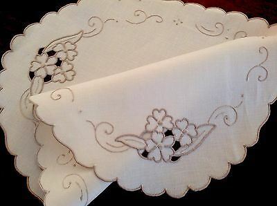 Vintage Hand Embroidered Oval Cream Linen & Taupe Table Centre Cloth