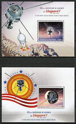 Ivory Coast 2018 MNH Vanguard 1 Launch 60th 2x 1v S/S Satellites Space Stamps