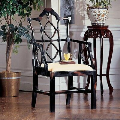 Chinese Chippendale Chair Seating Elegant Formal Home Decor Hand-Carved Mahogany
