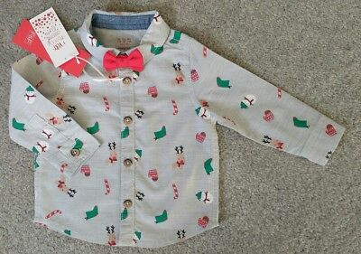 Bnwt Baby Boy Christmas Shirt With Bow Tie & Festive Print Age 3-6 Months