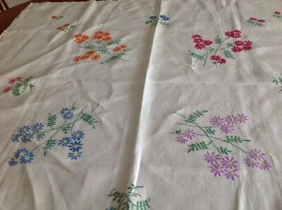 Vintage Linen Embroidered Table Cloth Spring Flowers Approx 84cmx79cm Tea