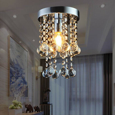 Crystal Droplets Silver Chrome Ceiling Pendant Light Chandelier Fitting Lamp