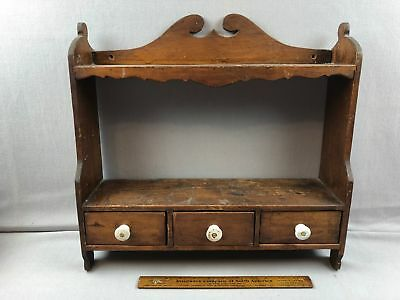 Beautiful Antique Primitive Wood Spice or Curio Display Wall Shelf w 3 Drawers