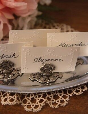 Victorian Trading Co 4pc Silverplate Floral Filigree Ornate Place Card Holders