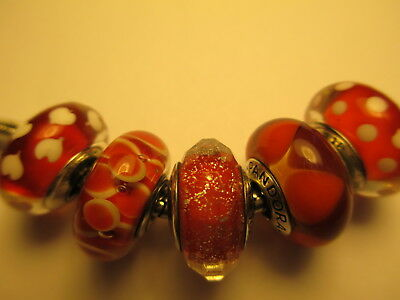 5 Authentic Pandora Silver 925 Ale Christmas Red Shimmer Sweethearts Beads Charm