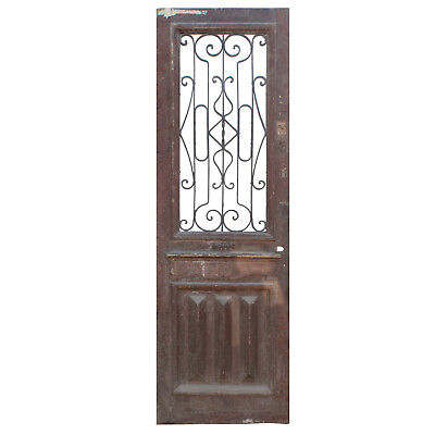"""Old Salvaged 30"""" Antique Door with Iron Insert, 19th Century, NED856"""