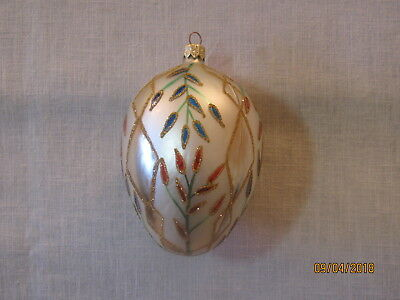 Mouth Blown Glass Egg Christmas Ornament, Original Box, Poland