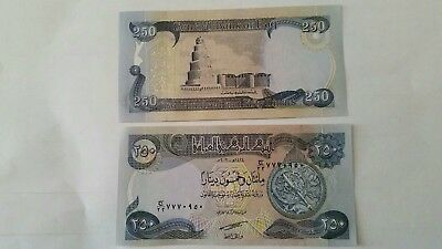 Iraq 250 Dinar Bank Note. Uncirculated. Global currency, foreign currency.