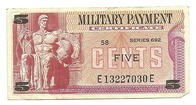 Lot of 4 US Military certificates from Series 692, 5 10 25 50 cents USA c