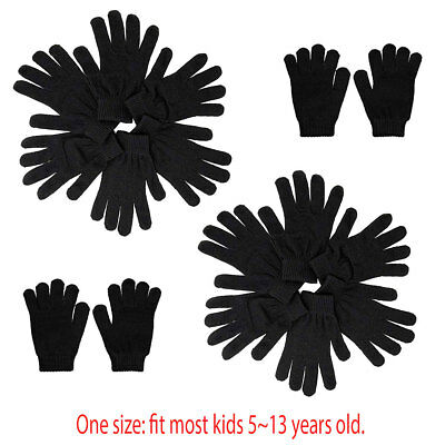 12pairs Kids Children Plain Solid Black Winter Magic Gloves Warm Knitted Thermal
