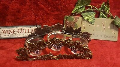 Grape Themed Votive Candle Holder Glass Pewter Metal 3 Cups w/ bonus signs