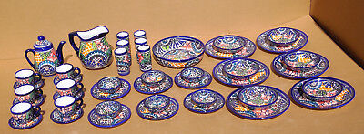 47 Piece DINNER SET Mexican talavera lead-free colorful dinnerware pottery