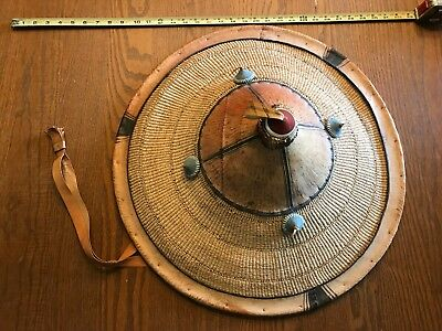 AUTHENTIC COOLIE HAT Asian sun rice patty bamboo leather conical Chinese Japan