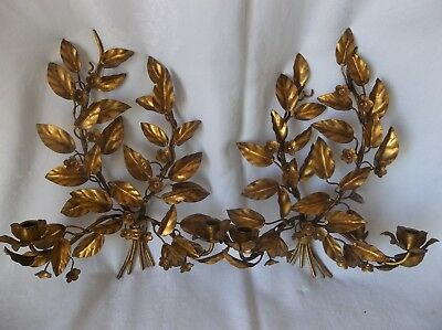 """Two Vintage Antique Gold Metal Toleware 2 Candle Holder Wall Sconces 19"""" x 14"""""""