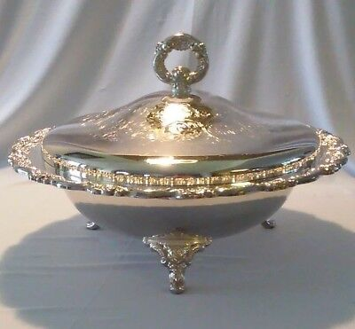Vintage Oneida Silver Plate Round Covered Serving Dish / Ornate Detailing
