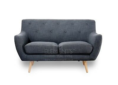 2 Seater Sofa Retro Scandinavian Compact Design Charcoal Grey FREE UK Delivery