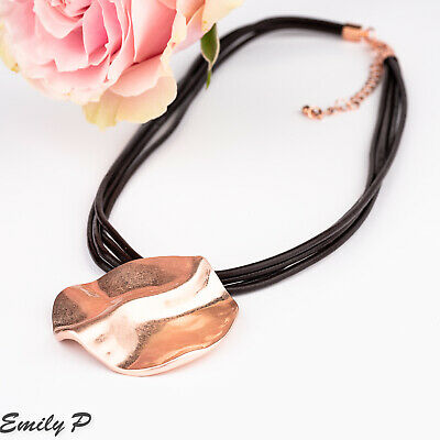 Statement Necklace Hand Finished Rose Gold tone Pendant with brown Leather Cord