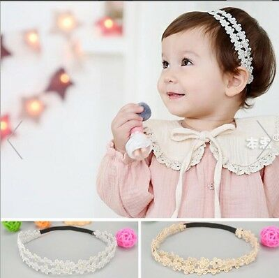 Baby Girl Lace Hairband Flower Girl Silver Gold Hairband