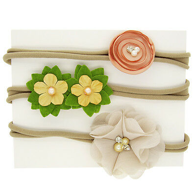 Baby Flower 3pcs Set Girls Nylon Chiffon Pearl Elastic Headbands