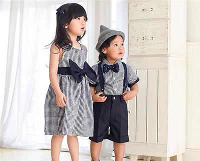 Girls and Boys Striped Matching Outfits Set