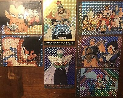 LOT of 7- 1996 Dragon Ball Z Series 1 HOLOGRAM prism trading cards