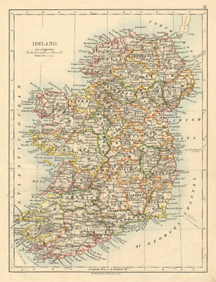 IRELAND Showing counties Undersea telegraph cables JOHNSTON 1892 old map
