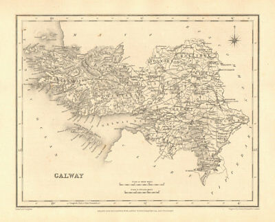 COUNTY GALWAY antique map for LEWIS by CREIGHTON & DOWER - Ireland 1846
