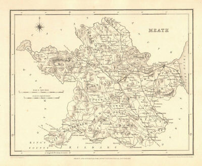 COUNTY MEATH antique map for LEWIS by CREIGHTON & DOWER - Ireland 1846 old