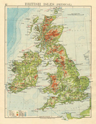 BRITISH ISLES RELIEF Showing isotherms in January & July JOHNSTON 1892 old map
