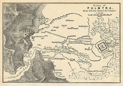 Plan of the ruins of Palmyra. Syria 1912 old antique vintage map chart