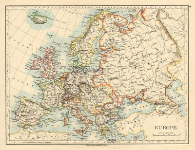 EUROPE POLITICAL Austria-Hungary United Sweden & Norway JOHNSTON 1892 old map