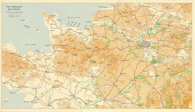 The Normandy Battlefield. Operation Overlord / Neptune. D-Day 1944 1962 map