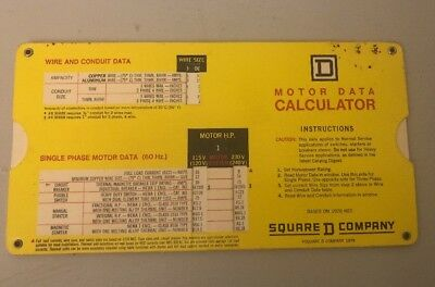 Vintage 1973 Collectible Motor Data Calculator Square D Company H P Volt