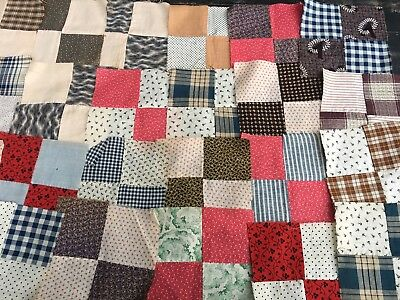 33 - Antique 1800's Calico And Homespun 4 Patch Quilt Blocks Hand Sewn 6X6 Aafa