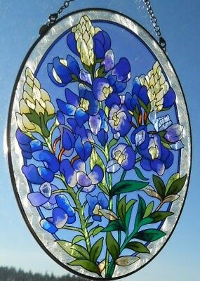"AMIA Stained-Glass Look ""Blue Bonnet""  Oval Suncatcher  ~  NEW"