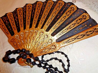 STUNNING Antique Victorian FAN with Gold GILT  and Lace on Carved Wood Frame