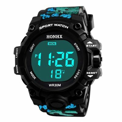 Men's Fashionable Waterproof Watches Digital LED Sporty Wristwatch Gift 3 Colors