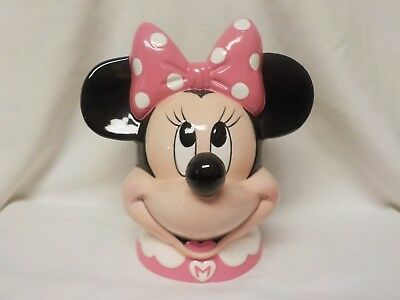 Vintage - Disney Hand Painted Minnie Mouse Head Ceramic Piggy Bank by Enesco