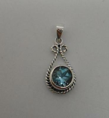 Hand Crafted in Thailand Sterling Silver & Blue Topaz Round Drop Pendant Pretty