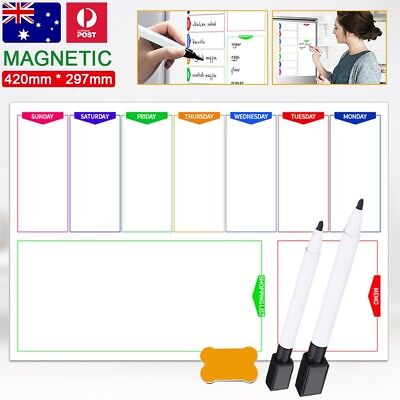 Large A3 Magnetic Whiteboard Family Weekly Planner Shopping List DIY Free Marker
