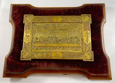 antique Hand Made gilded French Bronze Figurine Da Vinci Last Supper table  wall