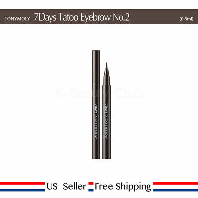 TONY MOLY 7 Days Tatoo Eyebrow No.2 Dark Brown 0.8ml + Free Sample [US Seller]
